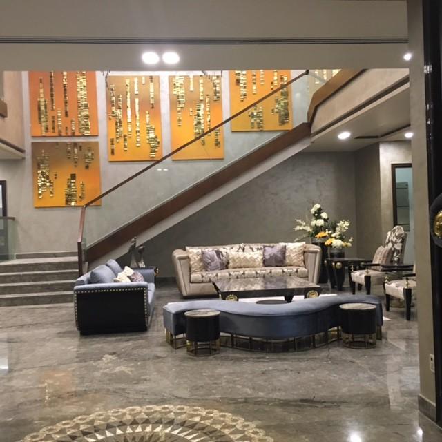 Curve Shape Sofa In Living Room by Khayati Living-room Contemporary | Interior Design Photos & Ideas