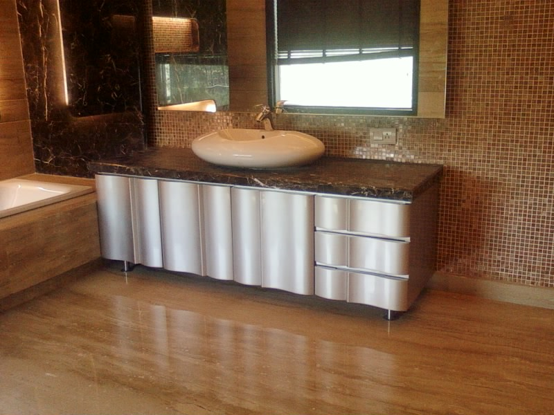 Curve Washbasin And Silver Flaucet In Bathroom by Khayati Bathroom Modern | Interior Design Photos & Ideas