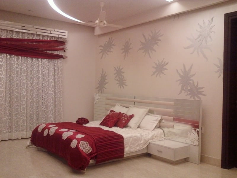 White And Red Theme Bedroom by Khayati Bedroom Contemporary | Interior Design Photos & Ideas