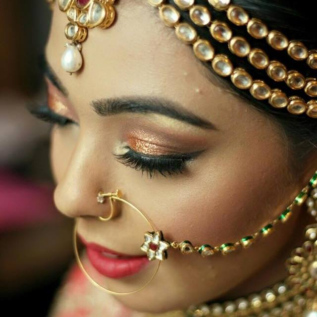 Golden bronze bling by Pooja Sonik Shukla Bridal-makeup | Weddings Photos & Ideas