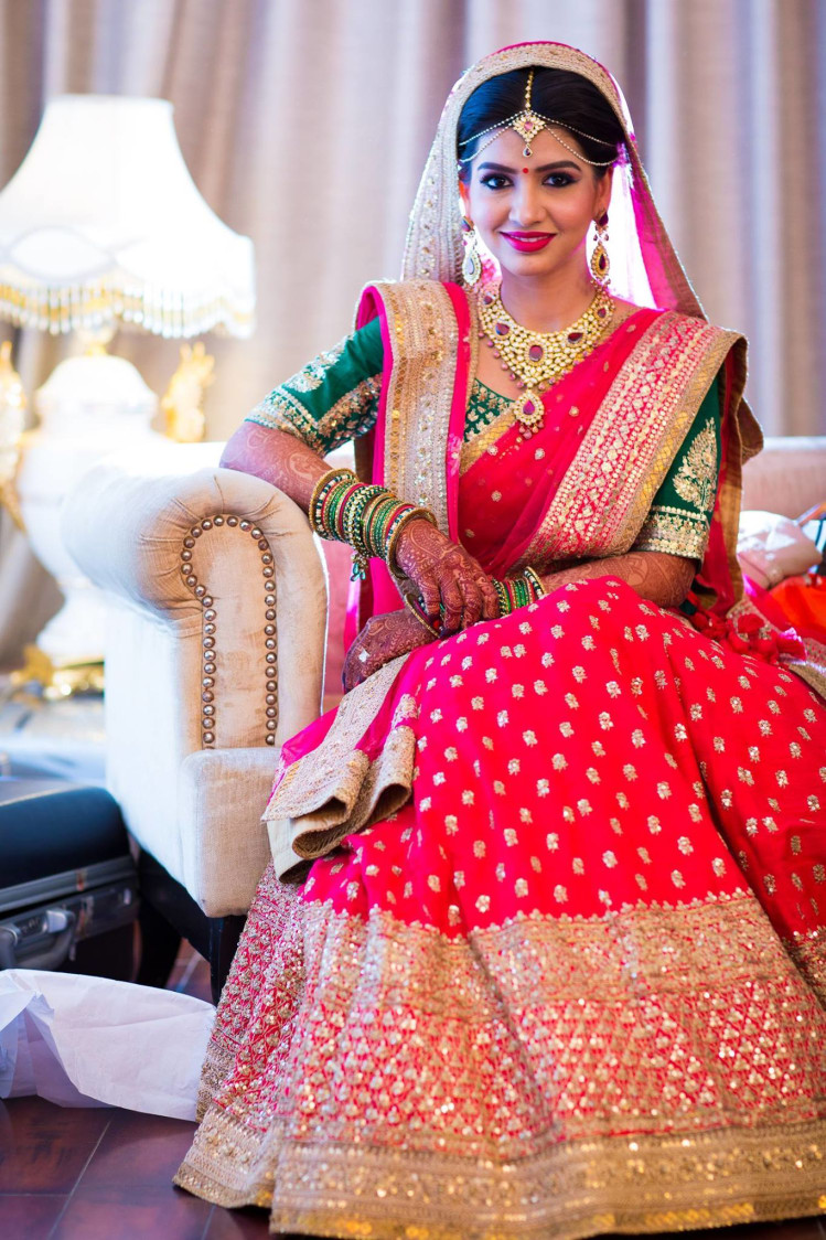 Bride all titivated by Pooja Sonik Shukla Bridal-makeup | Weddings Photos & Ideas
