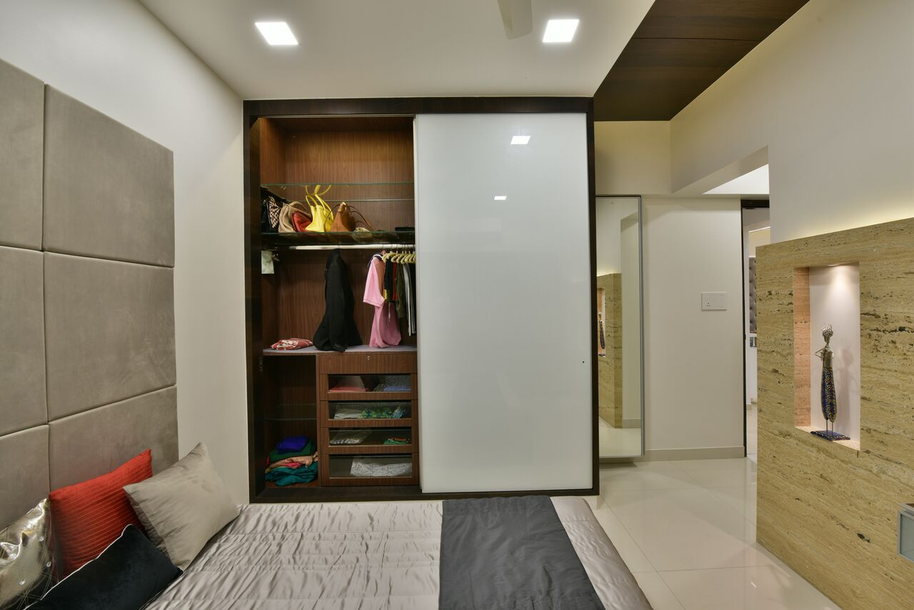 Contemporary bedroom decor with white wardrobe by ARCHITECT KAUSHAL CHOUHAN Bedroom   Interior Design Photos & Ideas