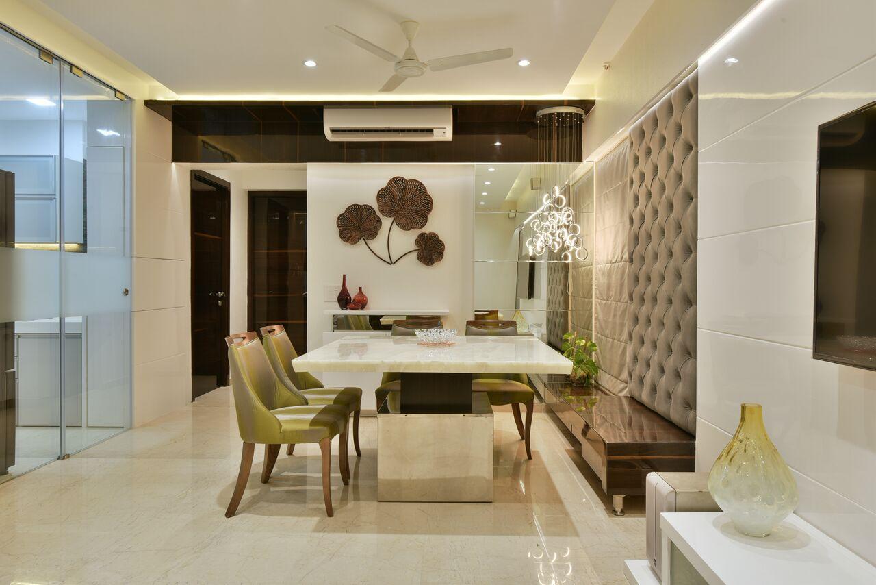 Plush neutral tone living room decor by ARCHITECT KAUSHAL CHOUHAN Dining-room | Interior Design Photos & Ideas