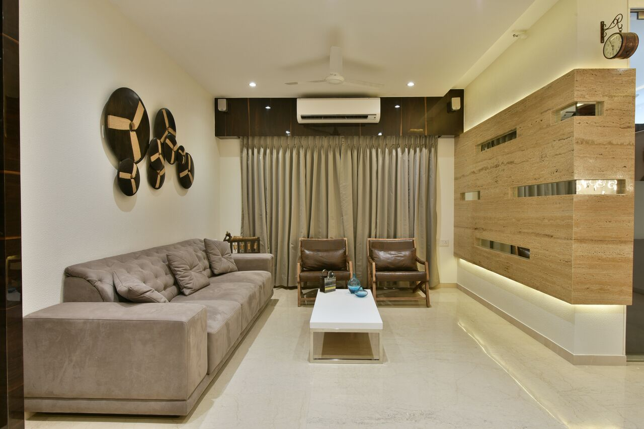 Mocha hued living room decor by ARCHITECT KAUSHAL CHOUHAN Living-room | Interior Design Photos & Ideas