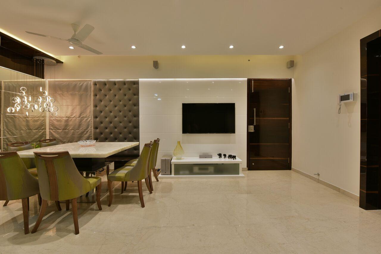 Plush neutral tone dining room decor by ARCHITECT KAUSHAL CHOUHAN Dining-room | Interior Design Photos & Ideas