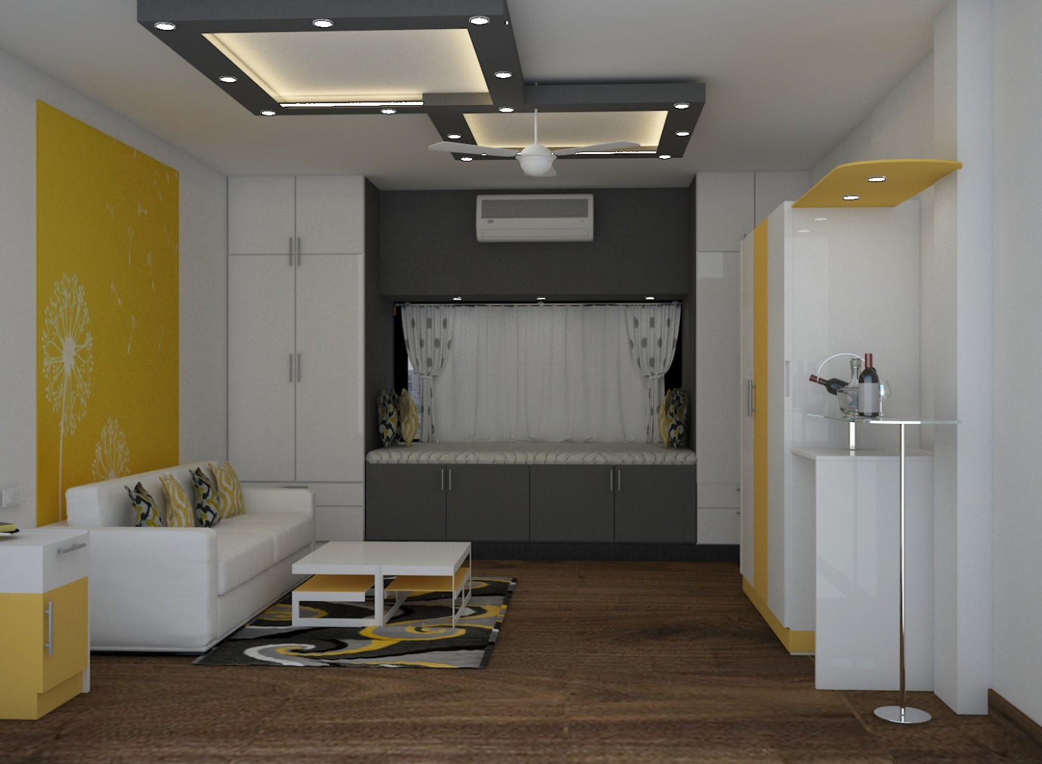 Yellow Shade Walls And Wooden Work In Living Room by Megha Jain Living-room Modern | Interior Design Photos & Ideas