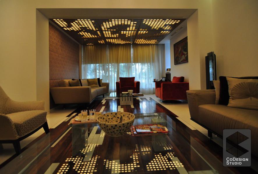 Caramel Themed Living Room With Soft lighting by Gurneek  Living-room Modern   Interior Design Photos & Ideas