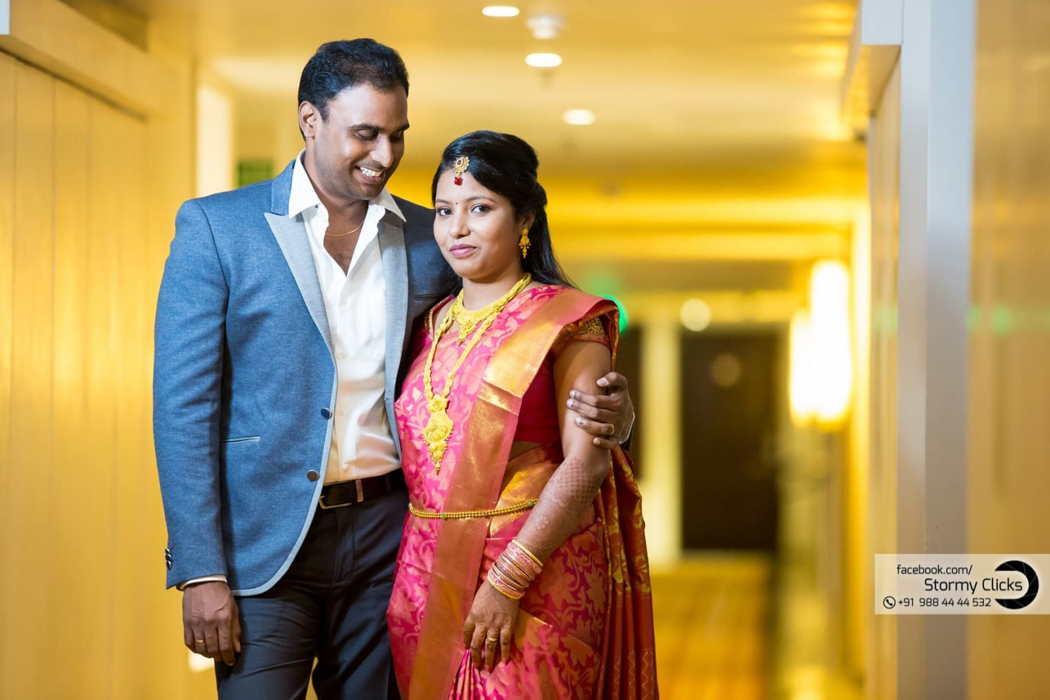 Gorgeous Bride In  Pink Silk Saree With Golden Border by Deepak Subramanian Wedding-photography Bridal-jewellery-and-accessories Wedding-dresses | Weddings Photos & Ideas
