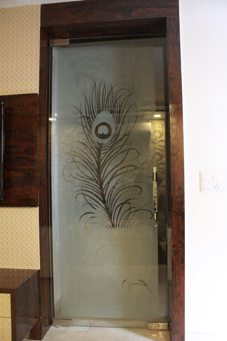 Contemporary peacock glass door by Designmantra Contemporary | Interior Design Photos & Ideas
