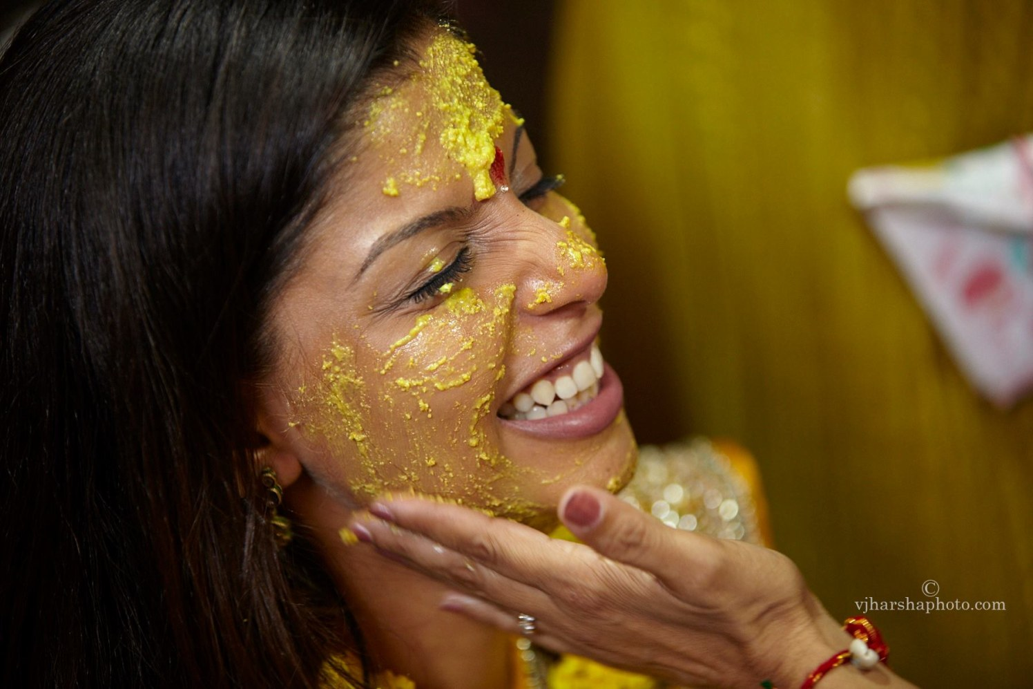 Bride Enjoying the Haldi by Vjharsha Photography Wedding-photography | Weddings Photos & Ideas