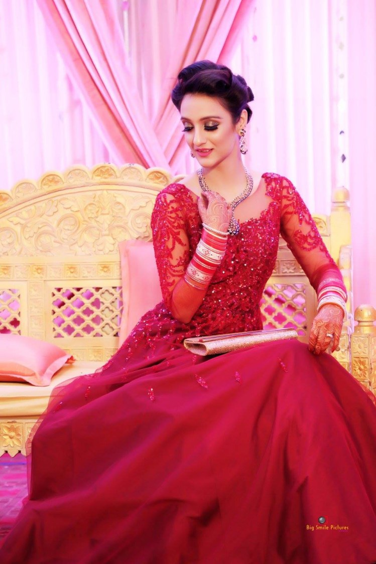 Bride Wearing A Delicately Embroidered Bridal Gown by Mukesh bijalwan  Wedding-photography Wedding-dresses | Weddings Photos & Ideas