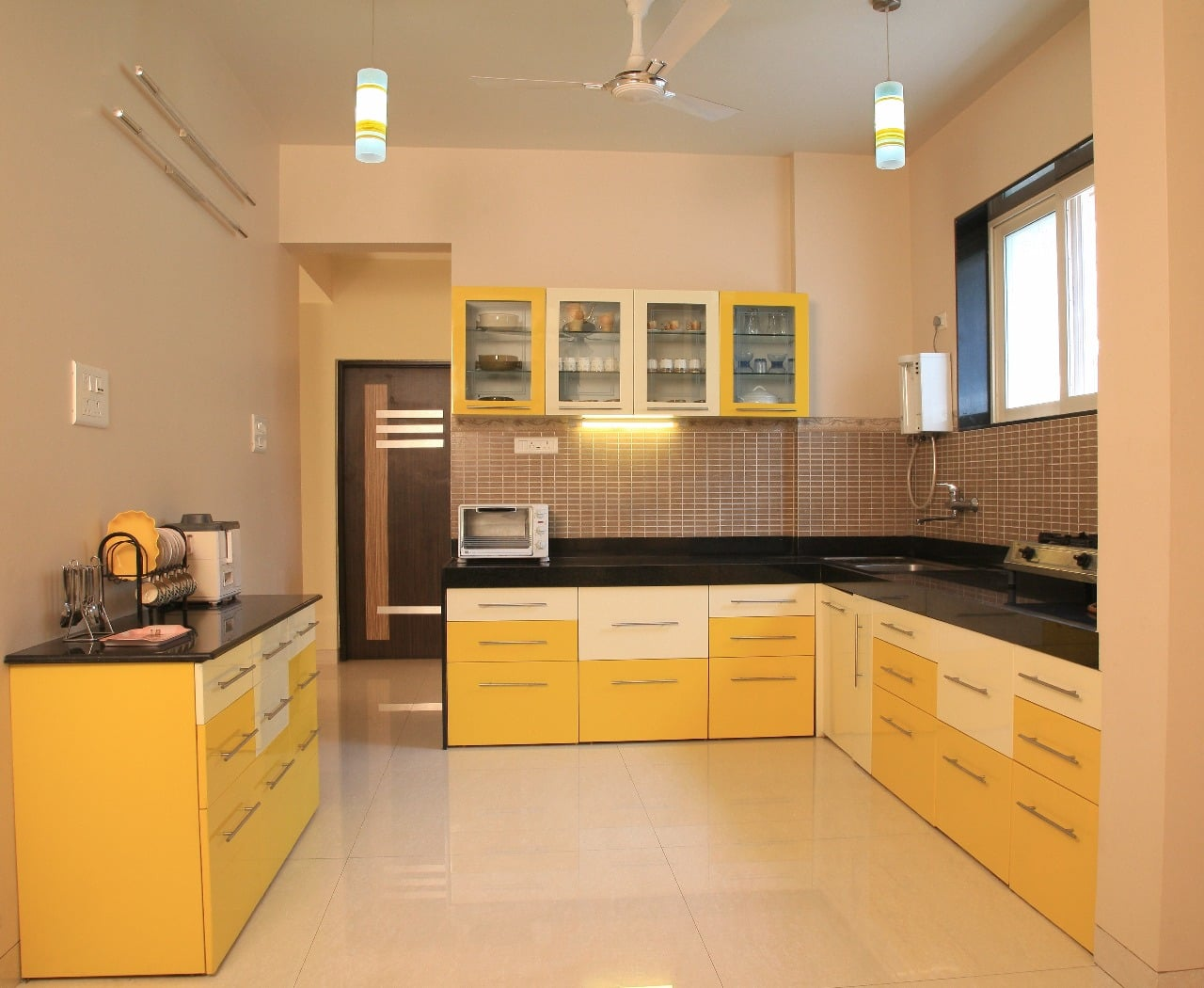 Yellow Modular Kitchen by Intrusa Interiors  Modular-kitchen Contemporary | Interior Design Photos & Ideas