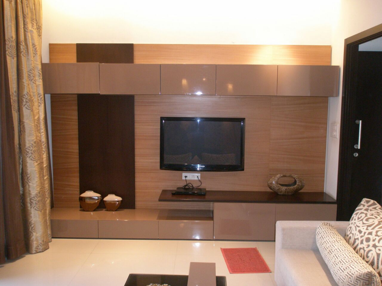 TV unit hinged To Glossy Tv Cabinet with Chocolate Brown Display Unit by Sudeep S Gandhi ID Living-room Contemporary | Interior Design Photos & Ideas