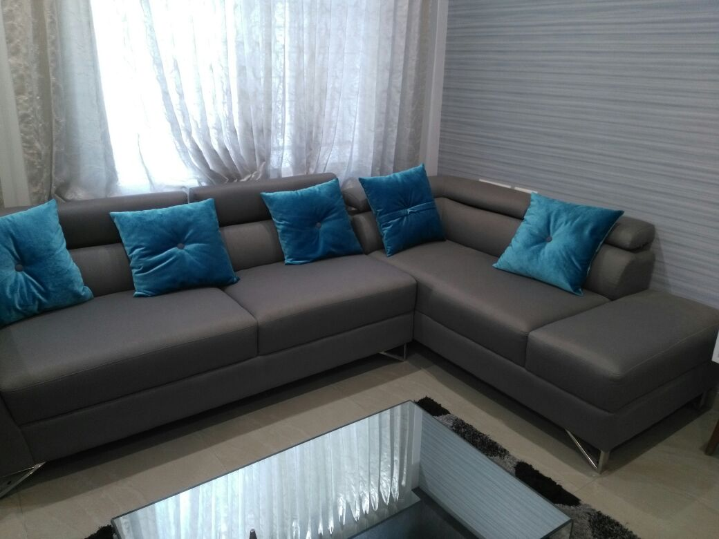 L shaped sectional grey sofa  with Blue Cushions by Sudeep S Gandhi ID Living-room Contemporary | Interior Design Photos & Ideas
