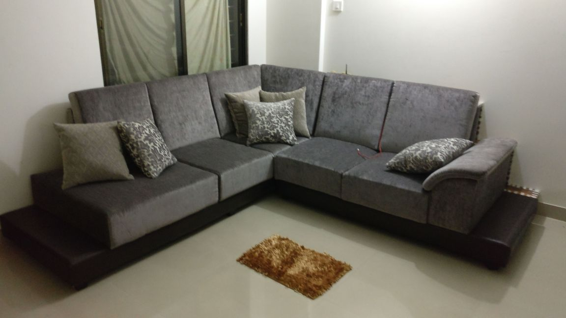 Grey L-Shaped Sofa Set by Intrusa Interiors  Living-room Eclectic | Interior Design Photos & Ideas