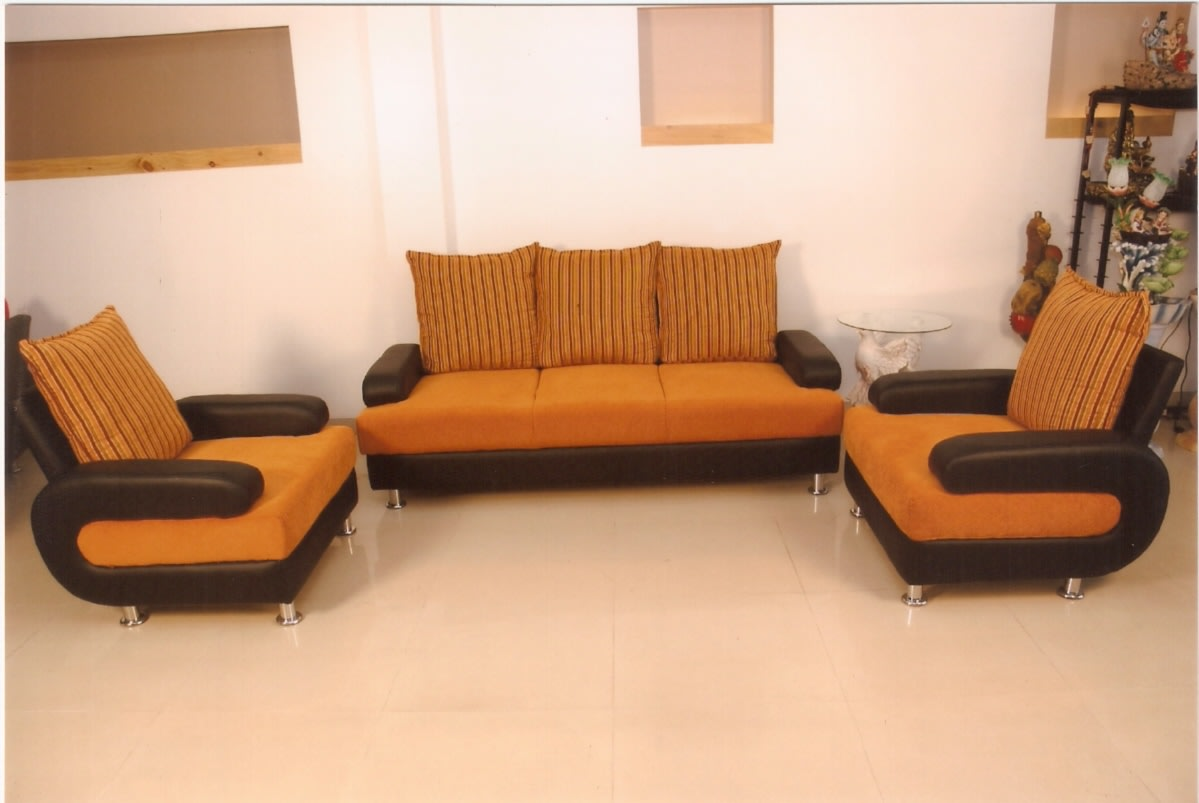 Orange and Black Sofa Set with Tile Flooring by Sudeep S Gandhi ID Living-room Modern | Interior Design Photos & Ideas