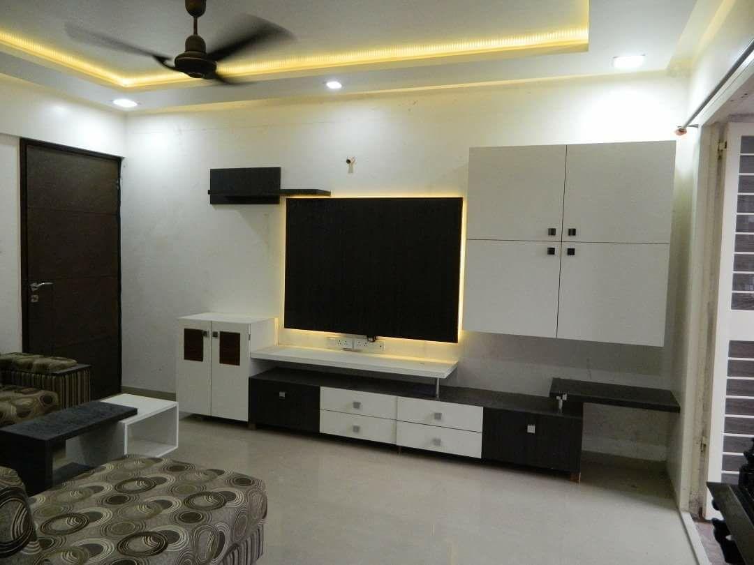 TV Unit with LED Lights by Intrusa Interiors  Living-room Contemporary | Interior Design Photos & Ideas