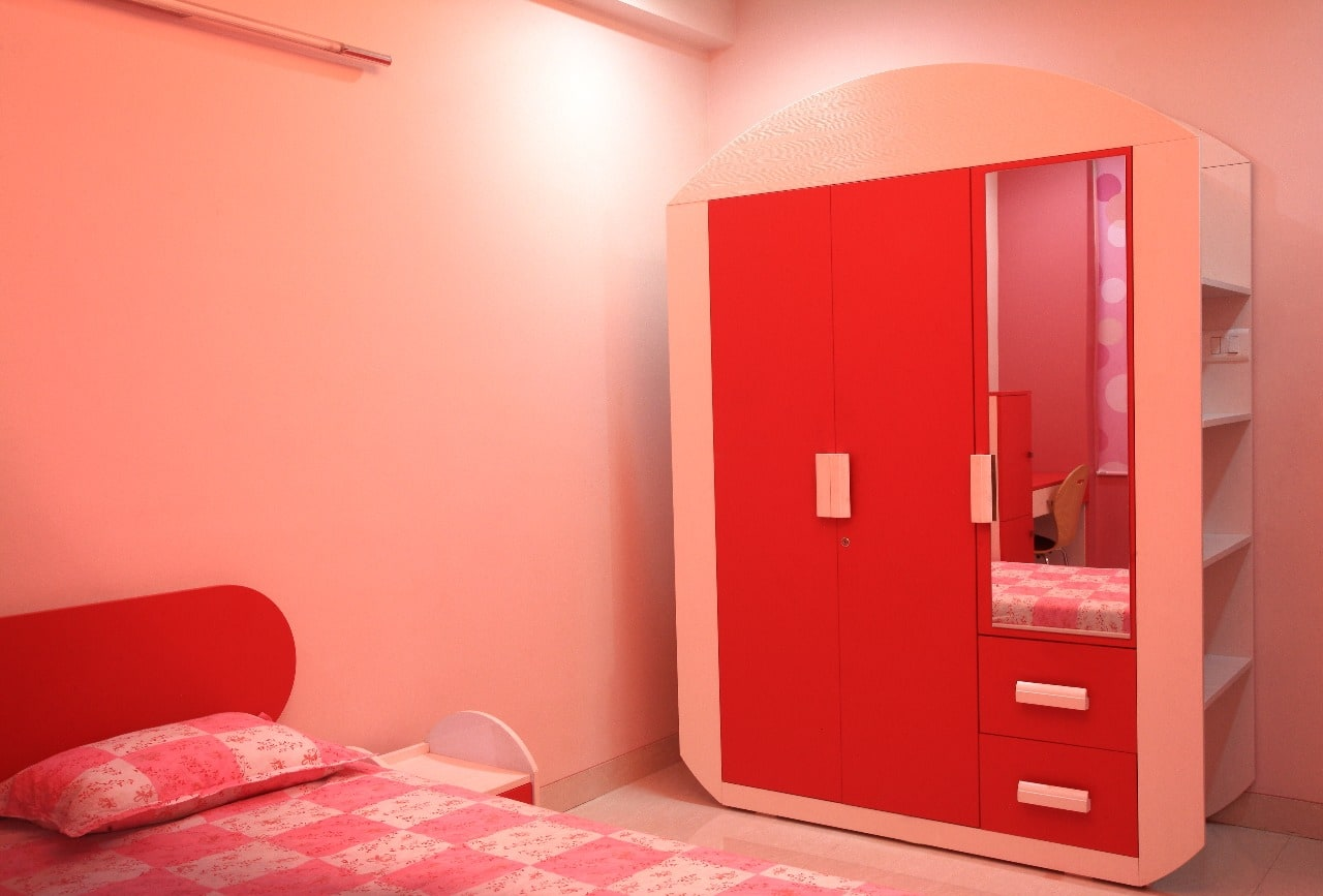 kids Bedroom with Pink Theme and Wooden Wardrobe by Sudeep S Gandhi ID Bedroom Modern | Interior Design Photos & Ideas