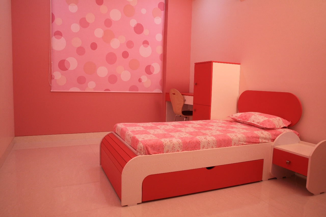 Pink Themed Kid's Bedroom with Single Bed with Wooden Headboard by Sudeep S Gandhi ID Bedroom Contemporary | Interior Design Photos & Ideas