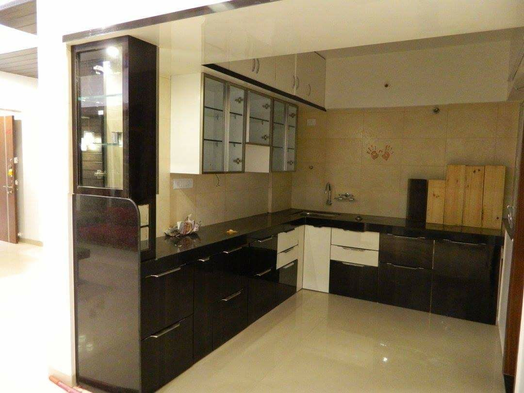 L Shaped Modular Kitchen With Black Cabinets And Tile Flooring By Sudeep S Gandhi Id