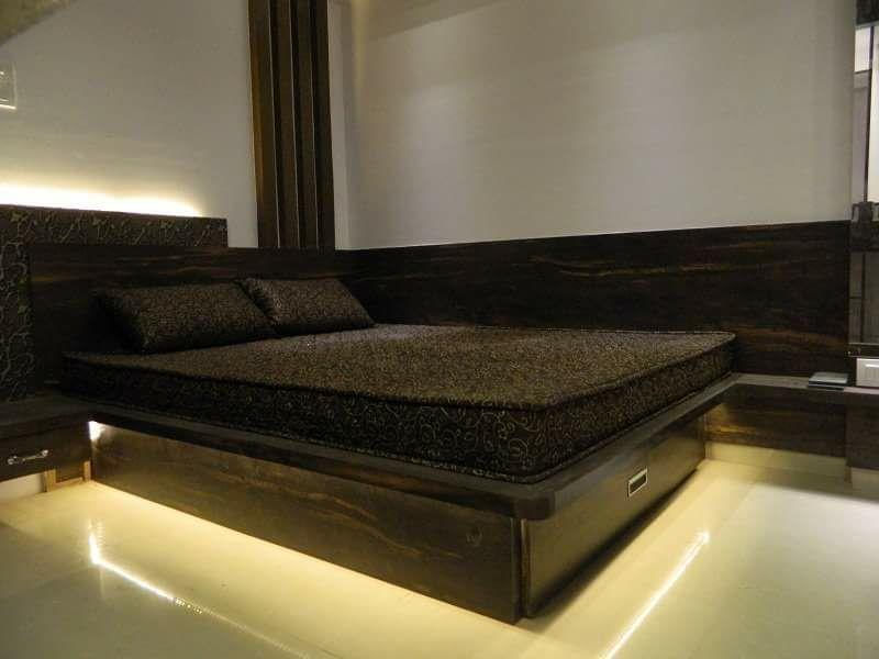 Dark Brown Wooden Polished Bed Framework with Base Neon Light by Sudeep S Gandhi ID Bedroom Modern | Interior Design Photos & Ideas