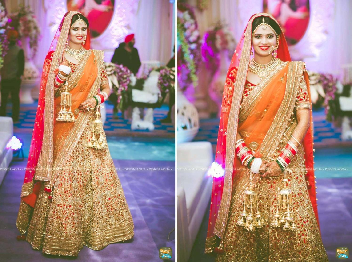 Gorgeous Heavily Embroidered Orange Lehenga by Priyanka Kamboj Wedding-photography Wedding-dresses | Weddings Photos & Ideas