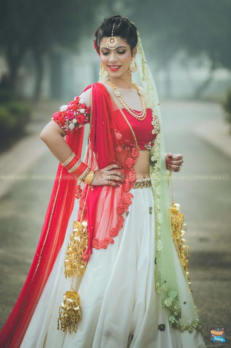 Pretty Crimson Red and White Lehenga With Floral  Details Sleeves by Priyanka Kamboj Wedding-photography Wedding-dresses | Weddings Photos & Ideas