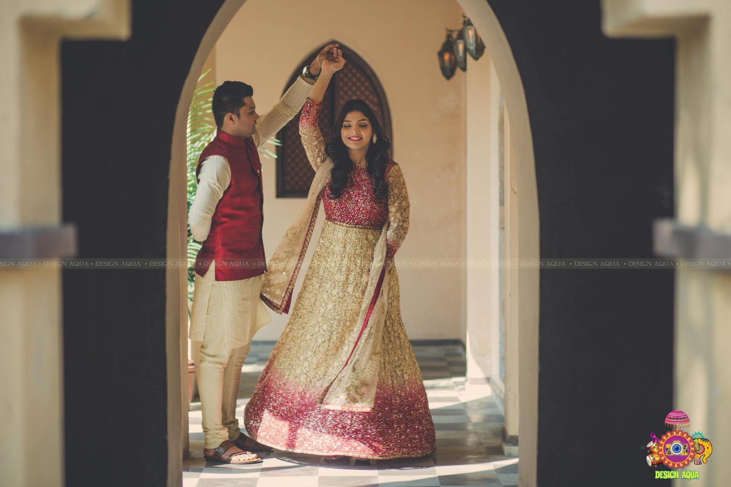 Elegant Red and Dull Golden Anarkali Suit Worn By Bride To-Be by Priyanka Kamboj Wedding-photography Wedding-hairstyles Groom-wear-and-accessories Wedding-dresses | Weddings Photos & Ideas