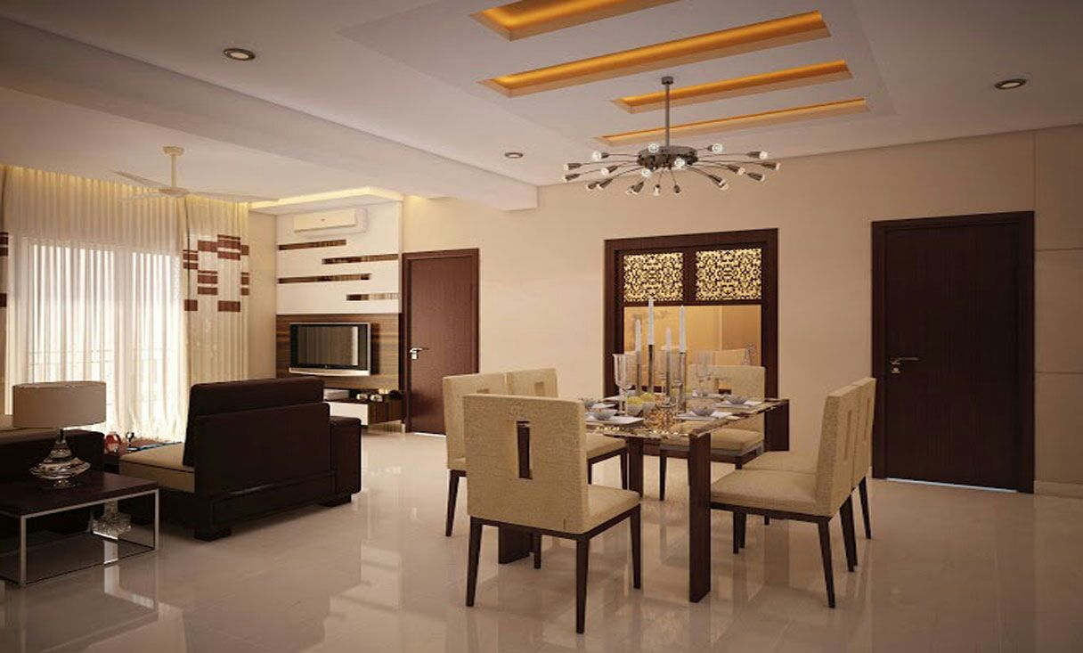 Dinning space with cream furniture and marble flooring by Hemangi Chaudhari-pawar  Dining-room Modern | Interior Design Photos & Ideas