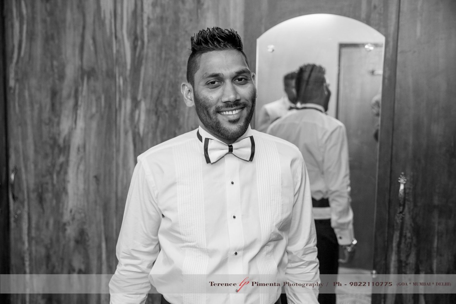 White Side Pleated Tuxedo Shirt With Black And White Bow Tie by Terence Savio Pimenta Wedding-photography | Weddings Photos & Ideas