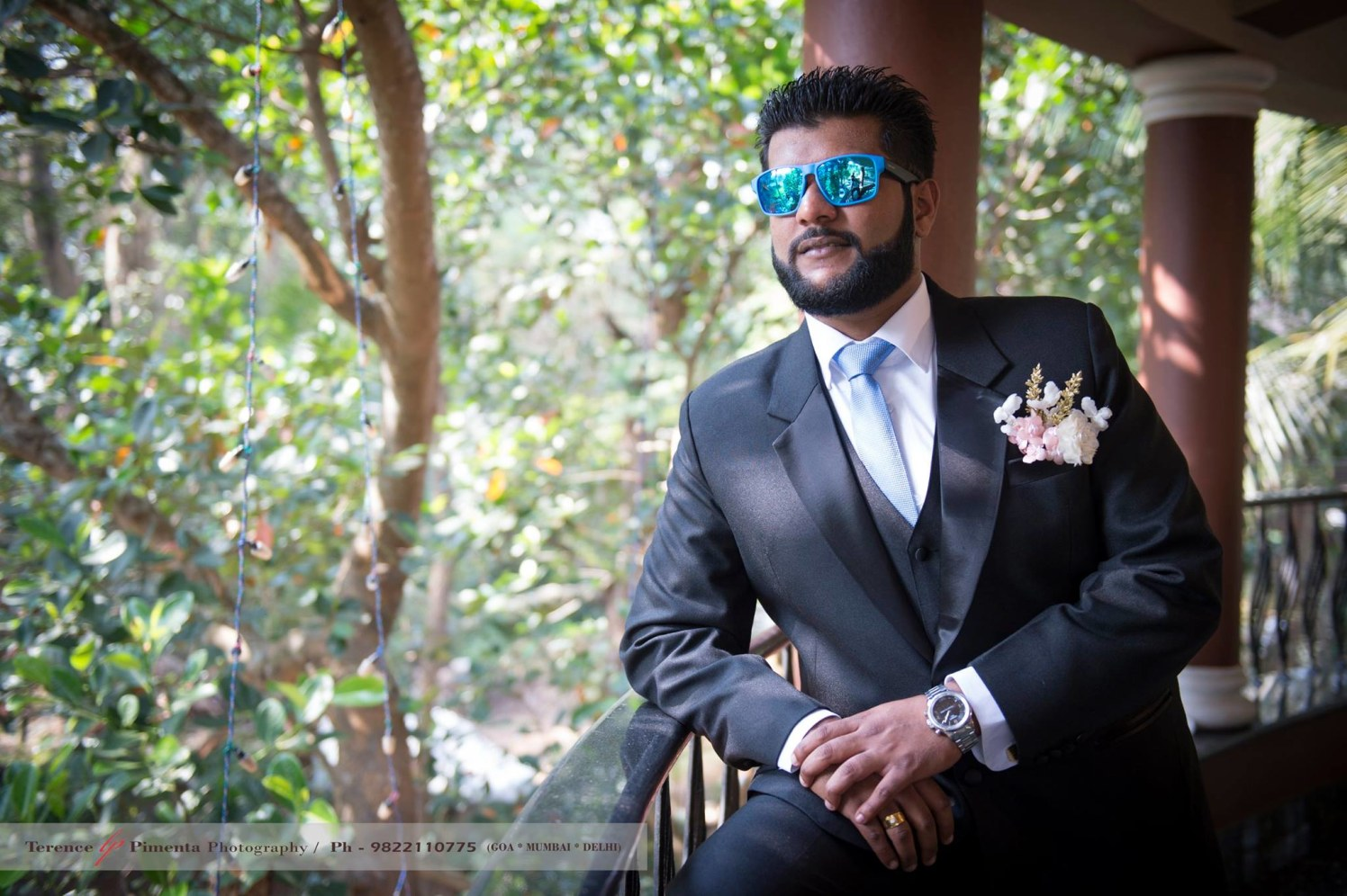 Mettlesome Man Suited Well In Black Three Piece Suit  With Blue Tie by Terence Savio Pimenta Wedding-photography | Weddings Photos & Ideas