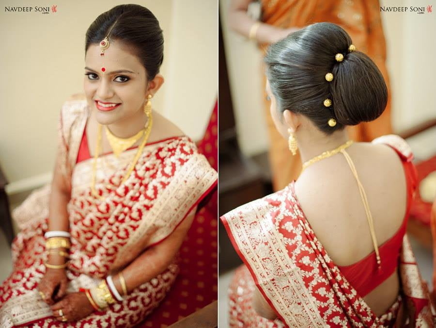 Perfectly Made Exemplary Bridal Bun Beautifully Adorned With Golden Beads by Navdeep Soni Wedding-hairstyles | Weddings Photos & Ideas