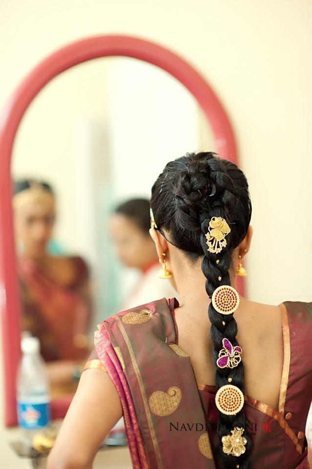 Braids Beaded  With Golden Ornamants by Navdeep Soni Wedding-hairstyles | Weddings Photos & Ideas