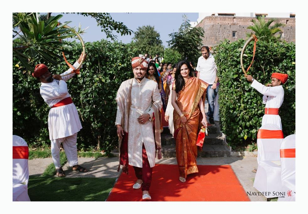 Off White Intricate Designed Sherwani Wih Maroon Chudidaar  Completing Its Look By Golden Stole And Matching Turban by Navdeep Soni Wedding-photography Groom-wear-and-accessories   Weddings Photos & Ideas