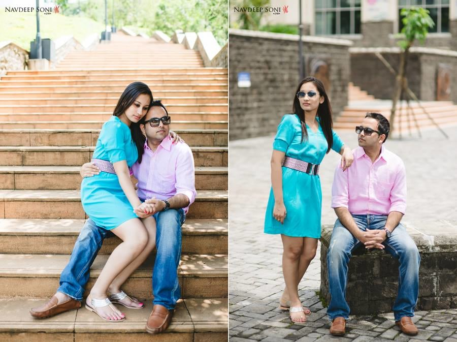Sky Blue Knee Length Dress With Pink Waist Belt For A Pre-Wedding Shoot by Navdeep Soni Wedding-photography | Weddings Photos & Ideas