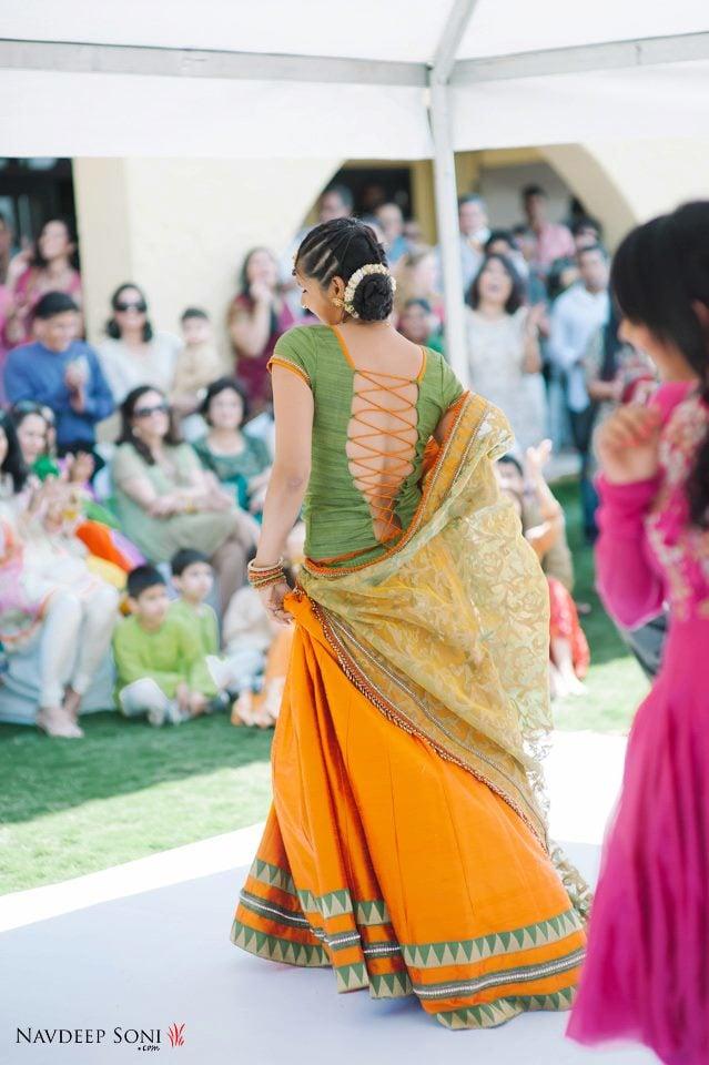 Stunning Turmeric Yellow Lehenga Mehendi Green Blouse With Criss-Cross Back For Mehendi Ceremony by Navdeep Soni Wedding-photography | Weddings Photos & Ideas