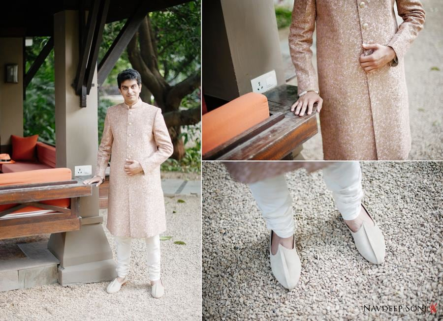 Intricate Golden Sherwani By Sabyasachi, Teamed With A Cream Chudidar . by Navdeep Soni Wedding-photography Groom-wear-and-accessories | Weddings Photos & Ideas