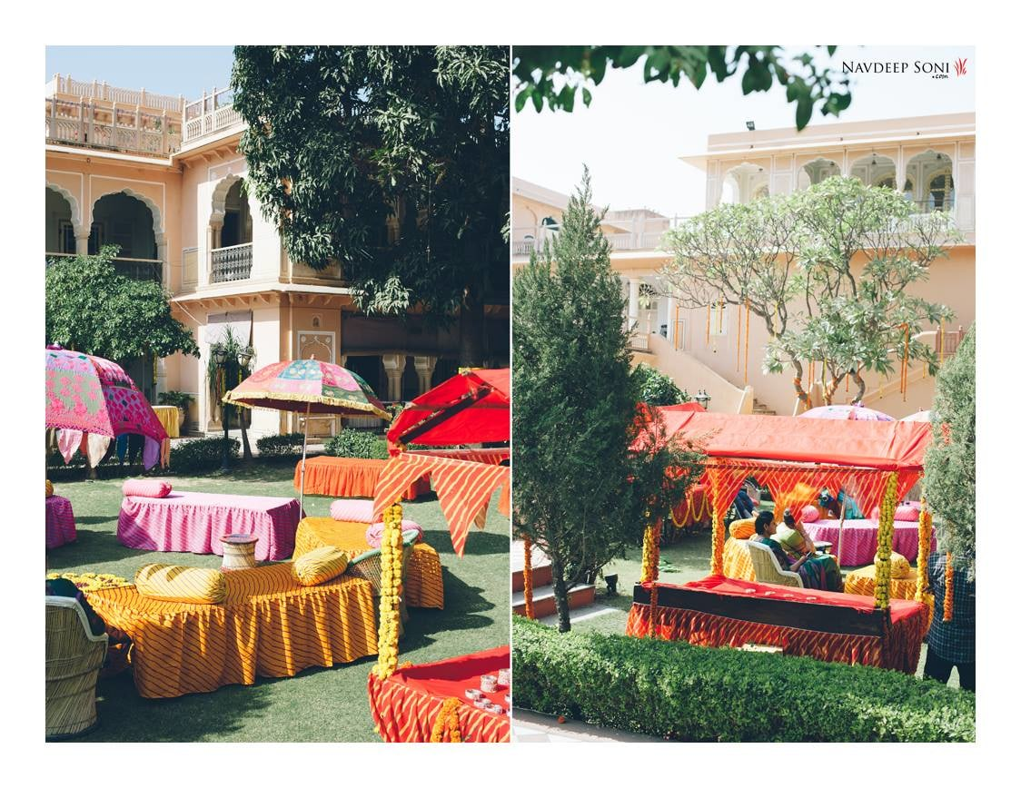 Rajasthani Style Decoration Including Colorful Umbrellas And Divan Beds In A Palace Location by Navdeep Soni Wedding-photography | Weddings Photos & Ideas