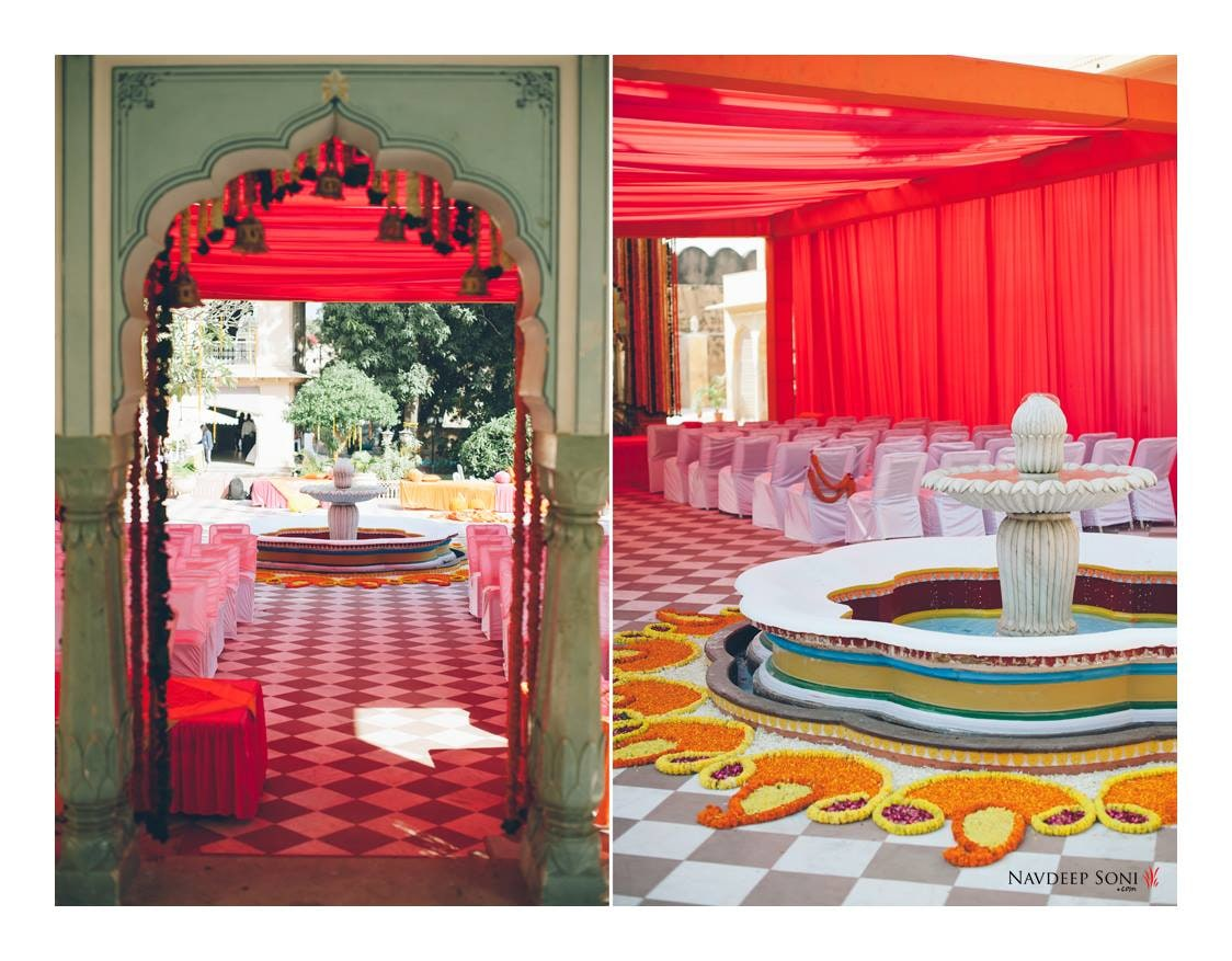 An Aesthetic Self Contained Fountain Decorated By Flower Rangoli by Navdeep Soni Wedding-decor | Weddings Photos & Ideas