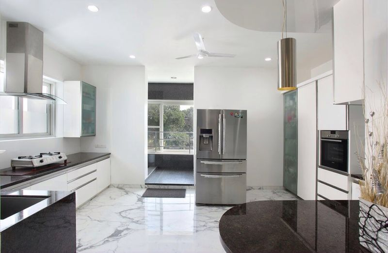 White Themed Modular Kitchen by R. Gautam Jain Modular-kitchen Minimalistic | Interior Design Photos & Ideas