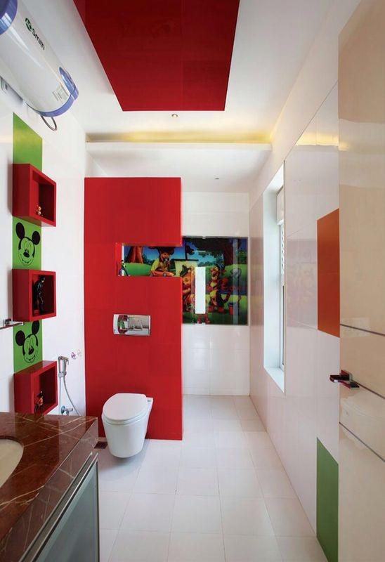 Red And White Themed Bathroom by R. Gautam Jain Bedroom Modern | Interior Design Photos & Ideas