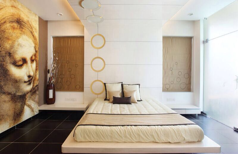 Artistic Bedroom With Wall Art by JMR Infrastructure Bedroom Contemporary | Interior Design Photos & Ideas