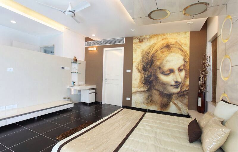 Artistic Bedroom With Wall Art by R. Gautam Jain Bedroom Contemporary | Interior Design Photos & Ideas