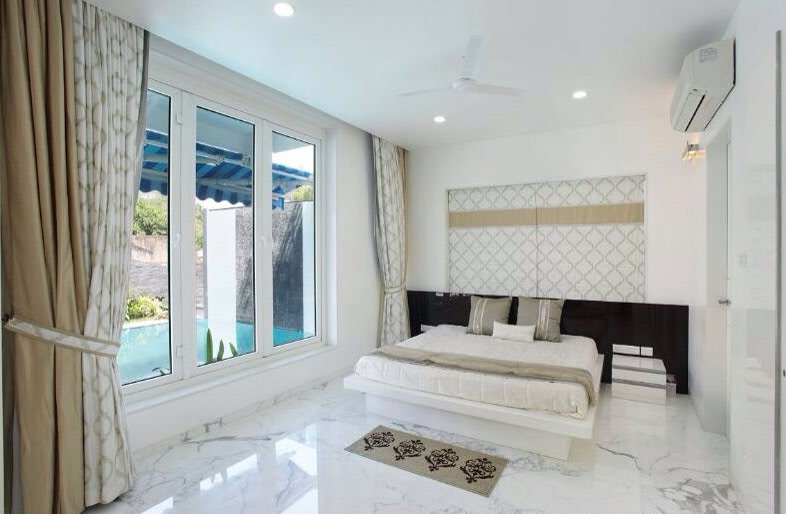 White Themed  Bedroom by JMR Infrastructure Bedroom Contemporary | Interior Design Photos & Ideas