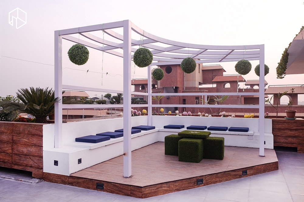 Spacious Terrace Space With White Canopy Structure and White Bench by Manoj Rai Open-spaces Contemporary | Interior Design Photos & Ideas