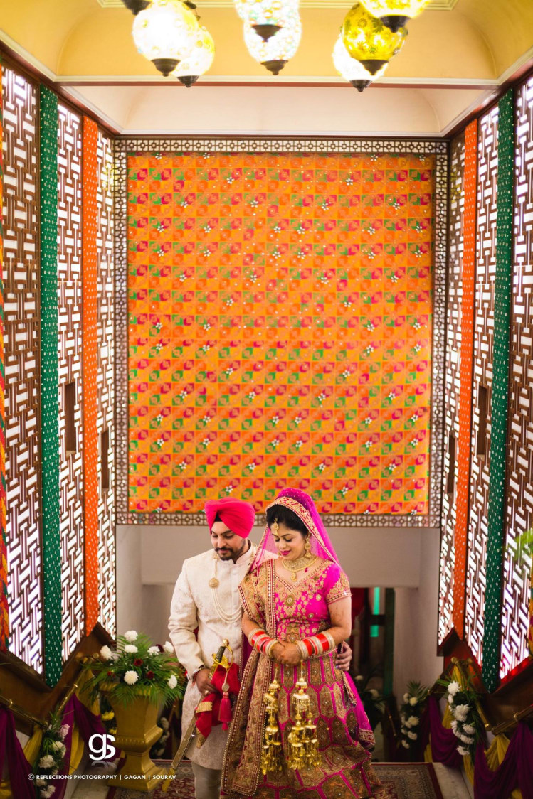 Bride and Groom Wearing  Combination Outfits by Sourav Samanta Wedding-photography Groom-wear-and-accessories Wedding-dresses | Weddings Photos & Ideas