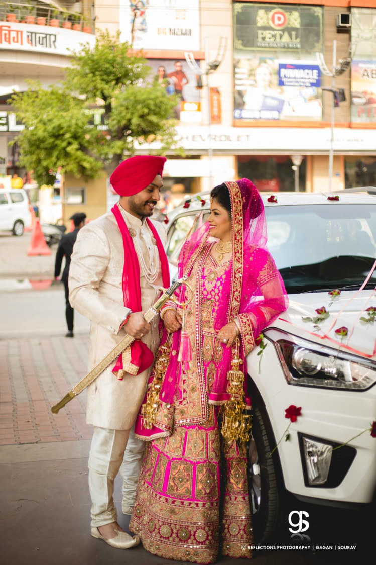 Pink Theme Combination Outfits Worn by Bride and Groom by Sourav Samanta Wedding-photography Groom-wear-and-accessories Wedding-dresses | Weddings Photos & Ideas