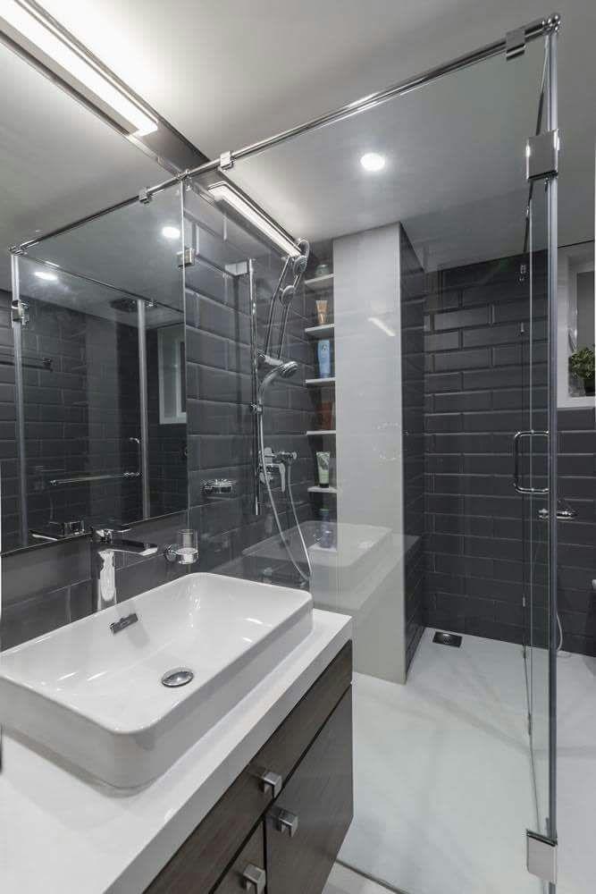Pale Shade Wash Basin With Glass Shower Stall by DD Jour Bathroom Modern   Interior Design Photos & Ideas