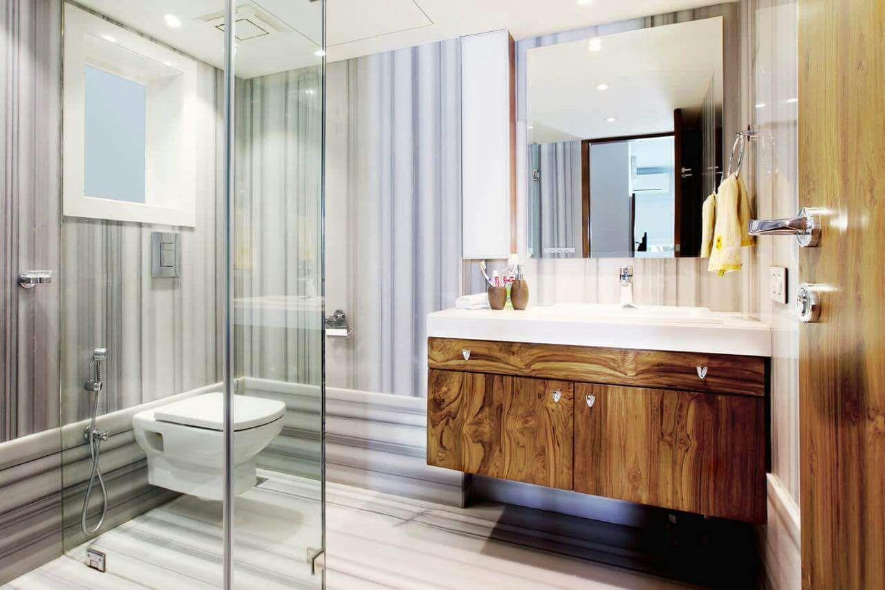 Limestone Furnishing With Glass Enclosure In Bathroom by DD Jour Bathroom Modern | Interior Design Photos & Ideas