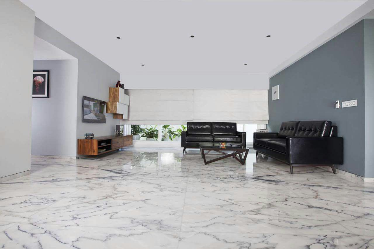 White Shade Marble With Black Sofa In Living Room by DD Jour Living-room Contemporary | Interior Design Photos & Ideas